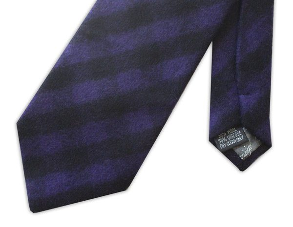 PURPLE/BLACK bold TARTAN WOOL TIE-0