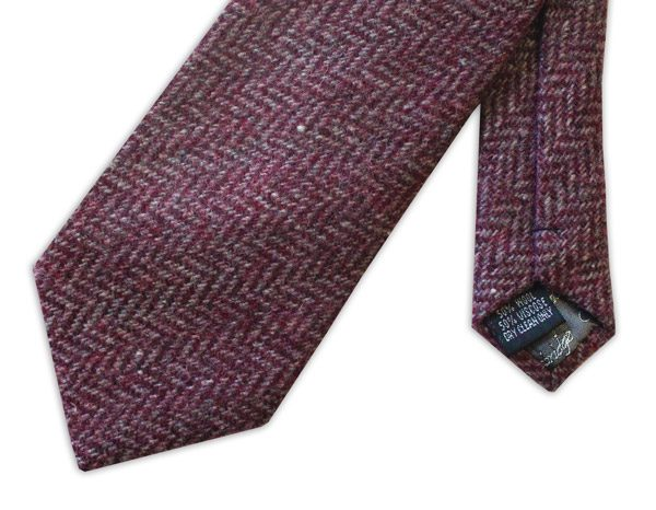 PINK HERRINGBONE TWEED TIE-0