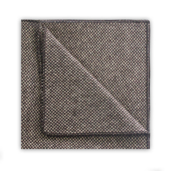 Speckled BROWN WOOL POCKET SQUARE -0