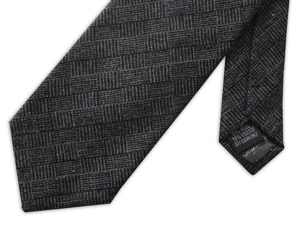 BLACK GEOMETRIC TWEED TIE-0
