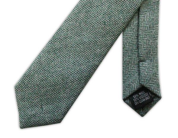 GREEN HERRINGBONE SKINNY TWEED TIE-0