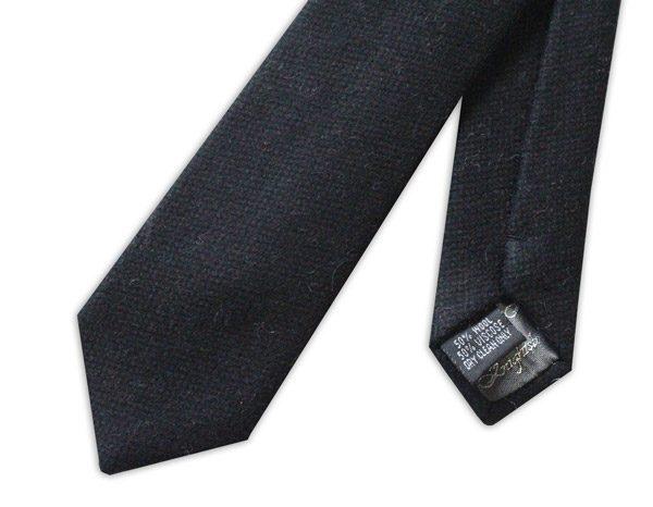 BLACK harris tweed SKINNY WOOL TIE-0
