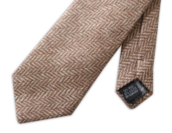 Light Brown HERRINGBONE TWEED TIE-0