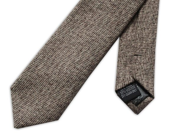 DARK BROWN HERRINGBONE SKINNY TWEED TIE-0