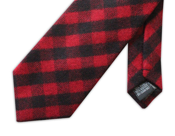 RED/BLACK bold TARTAN WOOL TIE-0