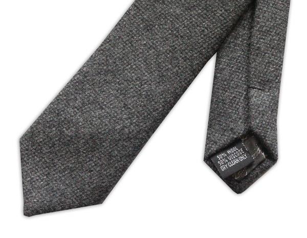 Dark Grey Skinny Tweed Wool Tie