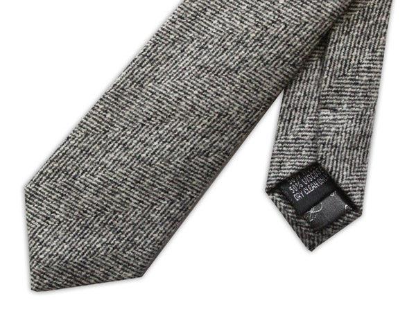 Grey HERRINGBONE SKINNY TWEED TIE-0