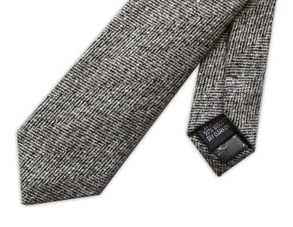 Grey Herringbone Skinny Tweed Tie