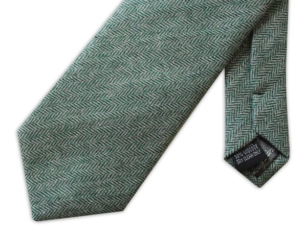 GREEN HERRINGBONE TWEED TIE-0