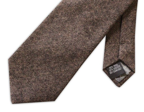 BROWN MOTTLED TWEED TIE-0
