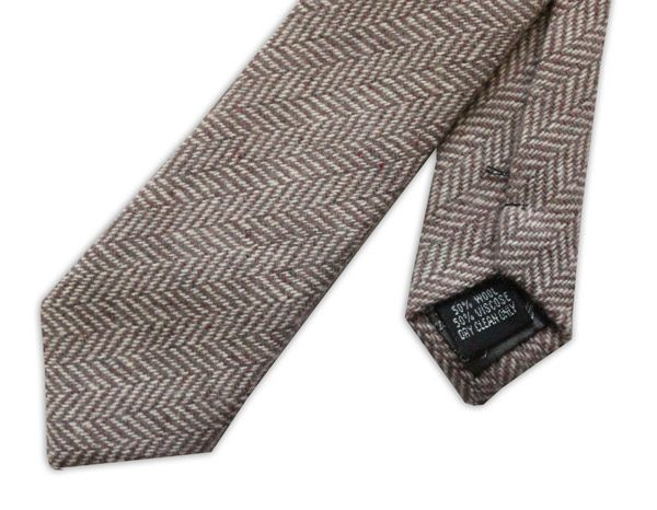 BROWN HERRINGBONE SKINNY TWEED TIE-0