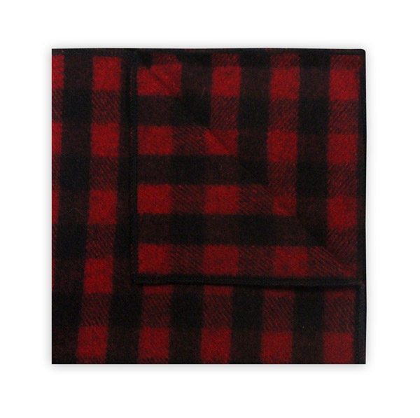 RED/BLACK CHECK WOOL POCKET SQUARE -0