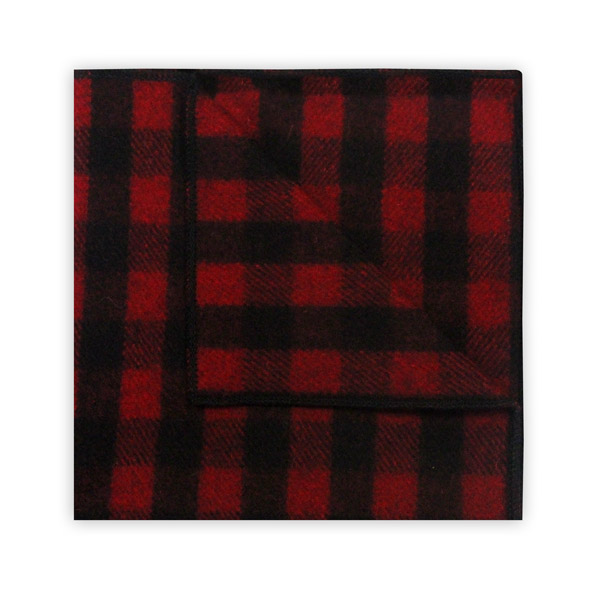 RED/BLACK CHECK WOOL POCKET SQUARE