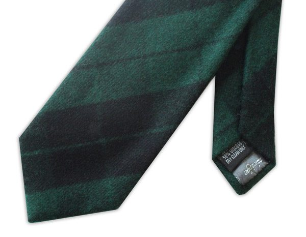 GREEN/BLACK WATCH TARTAN WOOL TIE-0