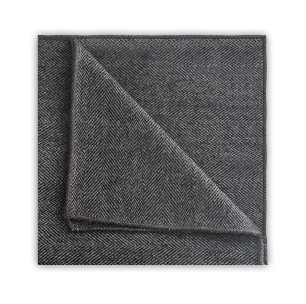 DARK GREY HERRINGBONE TWEED POCKET SQUARE