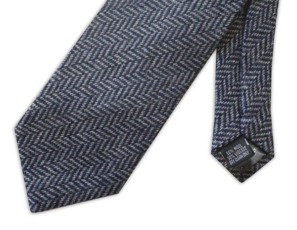 BLUE HERRINGBONE TWEED TIE-0