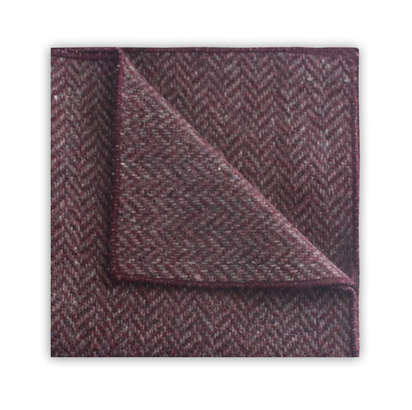 PINK HERRINGBONE POCKET SQUARE -0