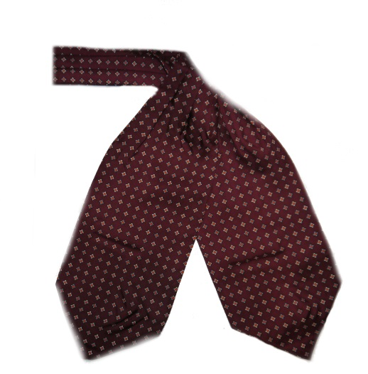 BURGUNDy SMALL DIAMOND SILK CRAVAT-0