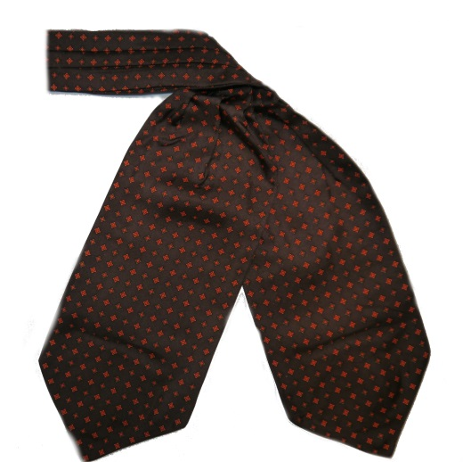 BROWN/ORANGE SMALL DIAMOND SILK CRAVAT-0