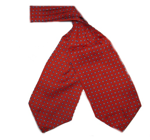 RED SMALL DIAMONDS SILK CRAVAT-0