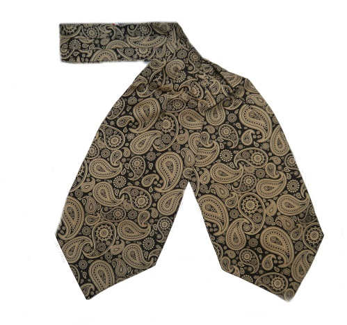 GOLD/BLACK LARGE PAISLEY SILK CRAVAT