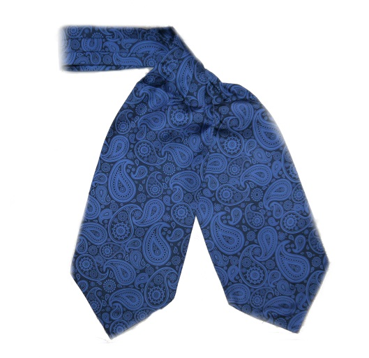 BLUE LARGE PAISLEY SILK CRAVAT-0