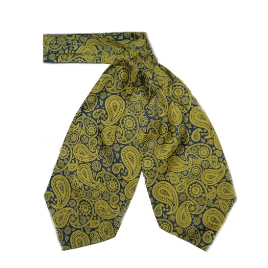 YELLOW/NAVY LARGE PAISLEY SILK CRAVAT-0
