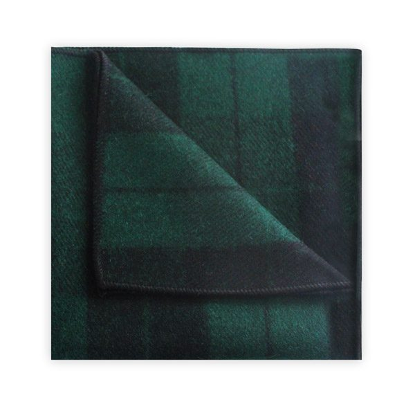 GREEN/BLACK TARTAN POCKET SQUARE -0