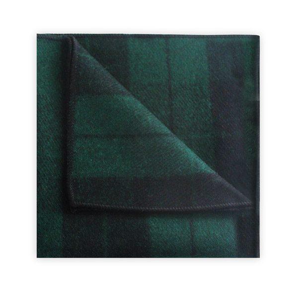 GREEN/BLACK TARTAN POCKET SQUARE -0