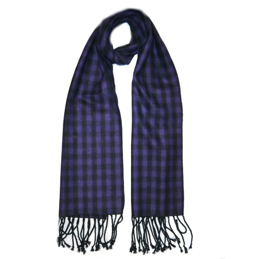 Purple/Black Tartan Wool Scarf-0