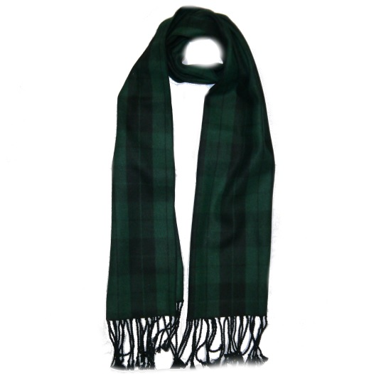 Black Watch/Green Tartan Wool Scarf-0