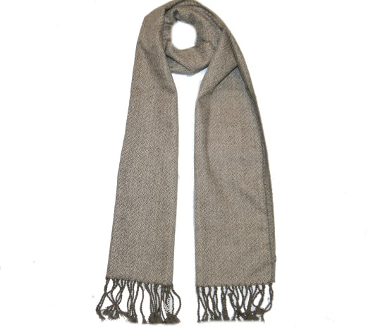 Light Brown Herringbone Tweed Scarf
