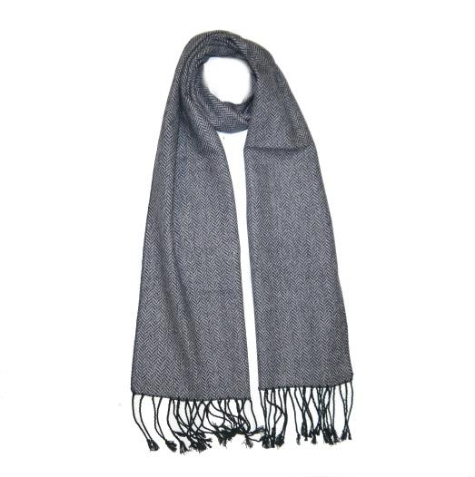 Blue Herringbone Tweed Scarf-0