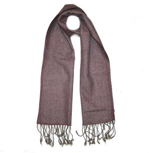 Brown Herringbone Tweed Scarf-0