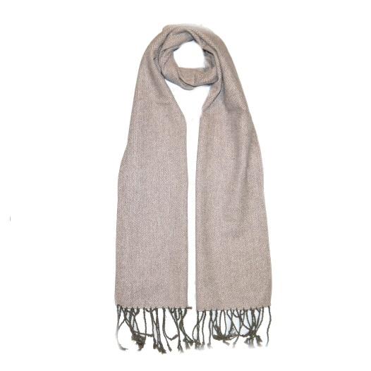 Beige Herringbone Tweed Scarf-0