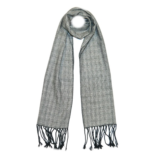 Grey Patterned Tweed Scarf -0