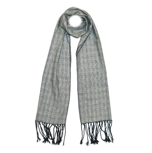 Grey Patterned Tweed Scarf