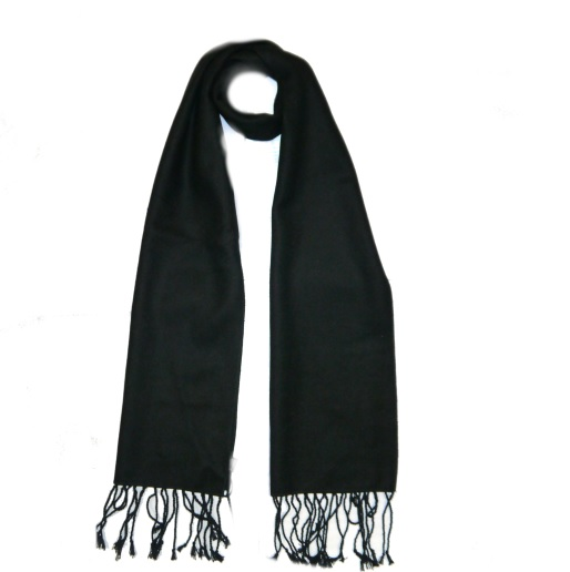 Black Wool Scarf-0