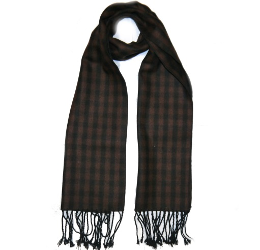 Brown/Black Tartan Wool Scarf