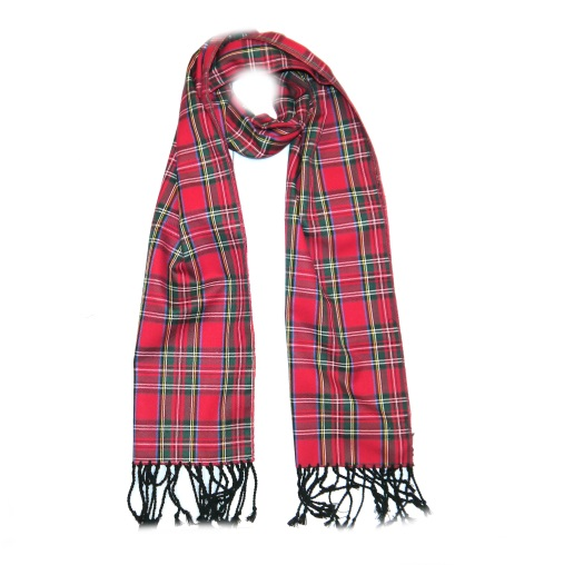 Red/Green Tartan Wool Scarf-0