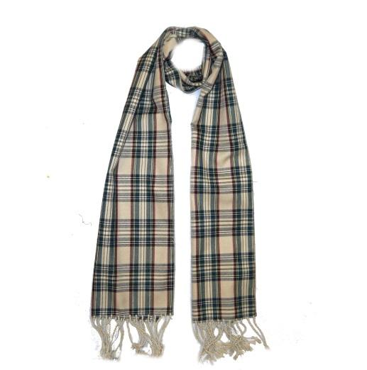 Beige Tartan Wool Scarf-0