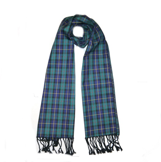 Blue/Green Tartan Wool Scarf-0
