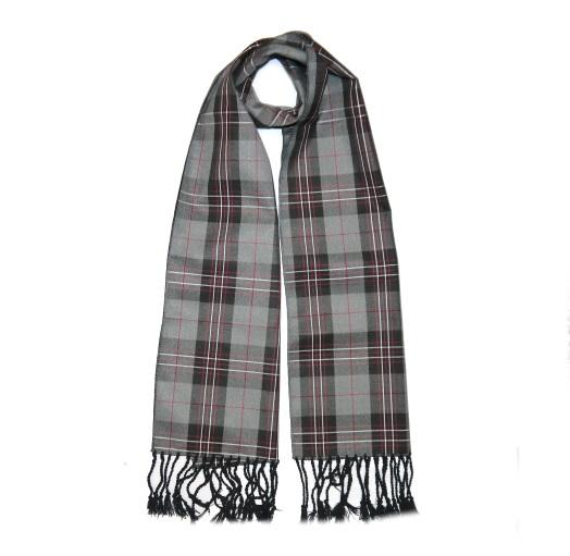 Grey Tartan Wool Scarf-0