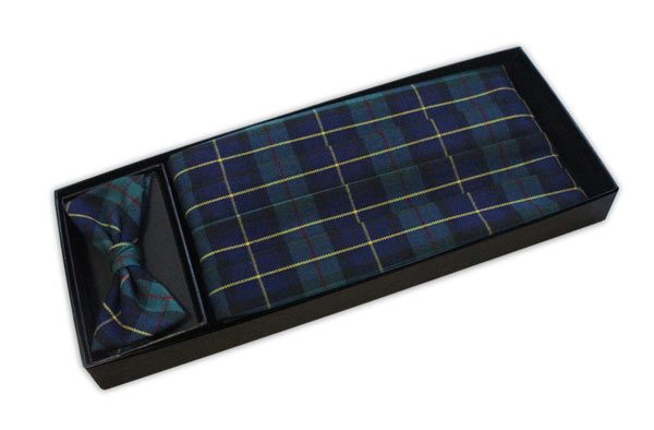 Blue/Green Tartan Cummerbund and Bow Tie Set-0