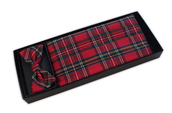 Red Tartan Cummerbund and Bow Tie Set-0