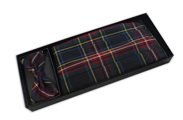 Multi Tartan Cummerbund and Bow Tie Set-0
