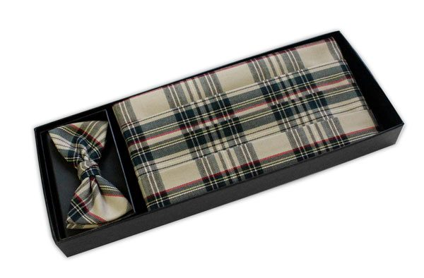 Beige Tartan Cummerbund and Bow Tie Set-0