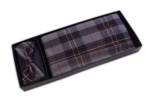 Grey Tartan Cummerbund and Bow Tie Set-0