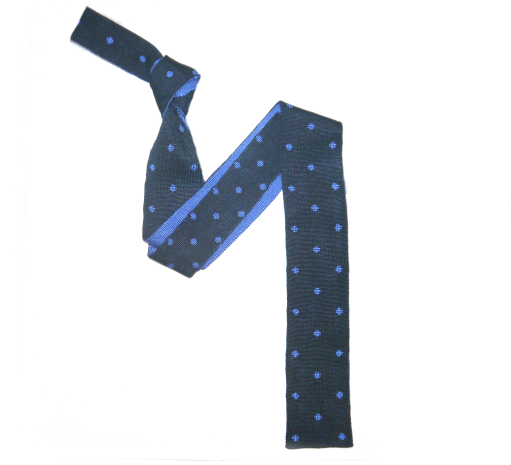 French Navy Silk Knitted Tie with blue Polka Dots