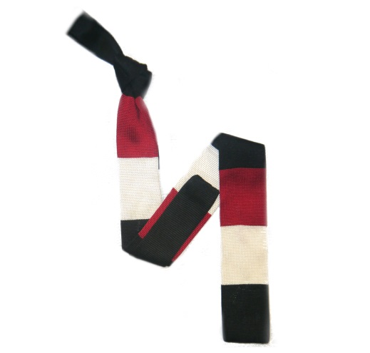 Black/White/Red Bold Stripes Silk Knitted Tie -0